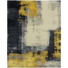Modern Style Rug with Contemporary Abstract Golden Smoke Texture