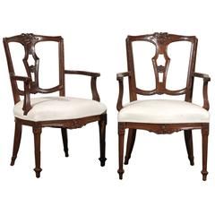 Pair of 19th/20th Century Italian Neoclassical Walnut Arm Chairs
