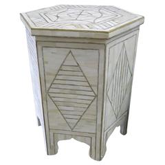Large Bone and Brass Side Table Moroccan Modern