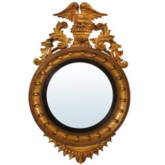 19th Century Giltwood Convex Mirror with Eagle