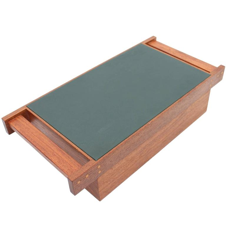 Teak And Black Leather Jewelry Box By Aksel Kjersgaard For