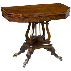 Classical Mahogany Card or Games Table with Crossed Lyres, Philadelphia, PA