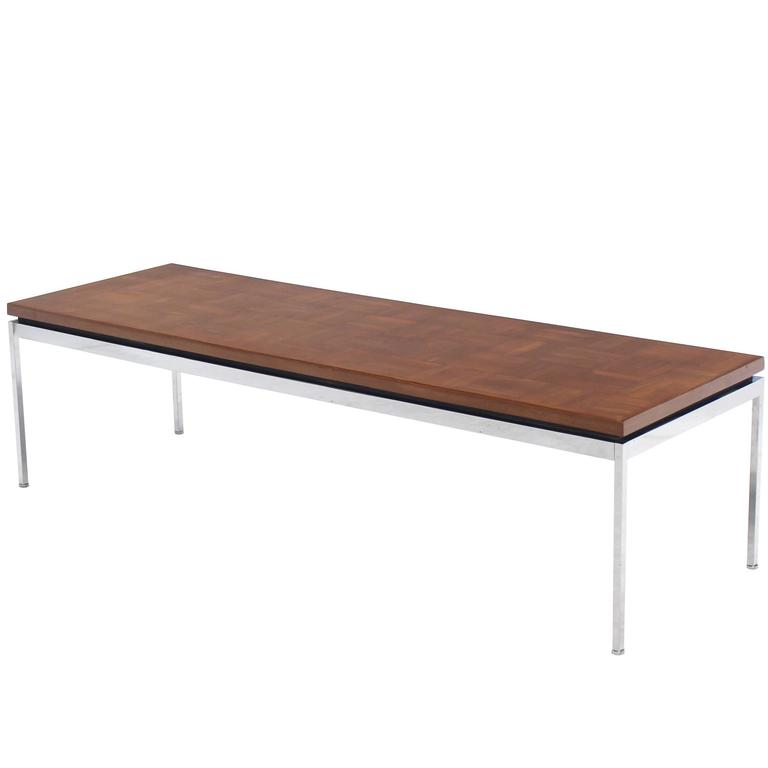 Solid Stainless Steel Heavy Base Rectangular Coffee Table with Parquet Top