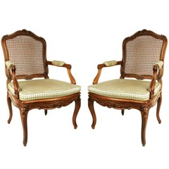 Assembled Pair of Walnut Louis XV Style Armchairs, 19th Century