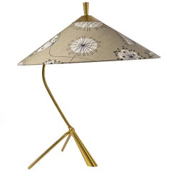 Large Brass Tripod Table Lamp Attributed to J.T. Kalmar, 1950s