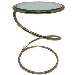 Vintage Modern Round Brass and Glass Twist Side Table after Milo Baughman, 1970s