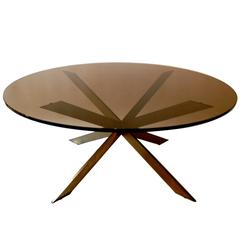 1960s, Double-X Brass Coffee Table by Leon Rosen for Pace Collection