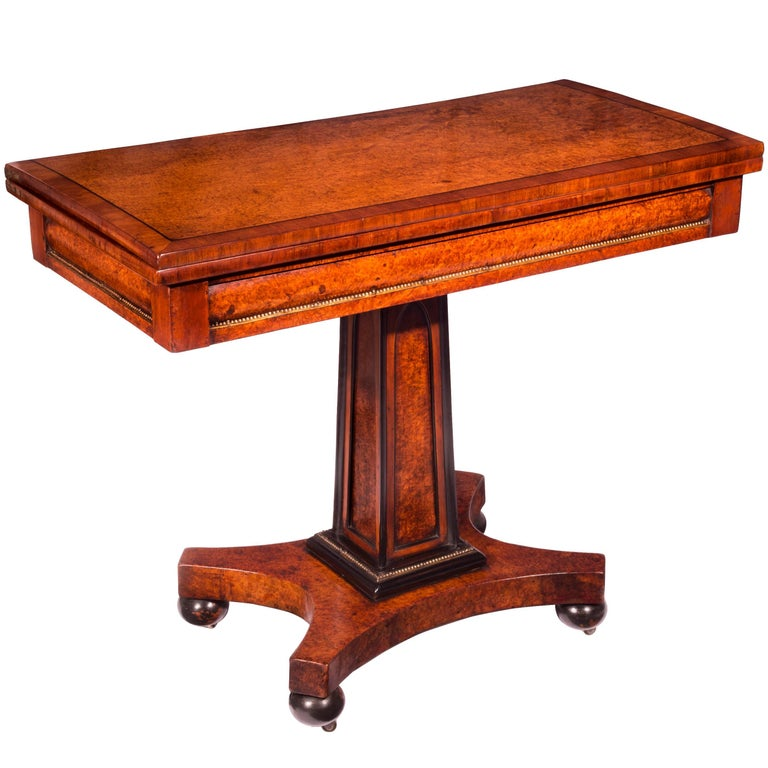 Regency Anglo-Chinese Amboyna and Brass Mounted Gothic Card Table