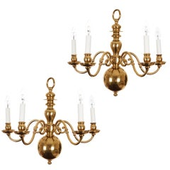 20th Century Brass Ball Style Chandelier, Pair