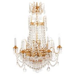 French Gilded Waterfall Chandelier, circa 1910