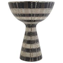Aldo Londi Bitossi Ceramic Compote Seta Signed, Italy, 1960s