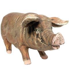 Italian Terracotta Sculpture Depicting a Pig