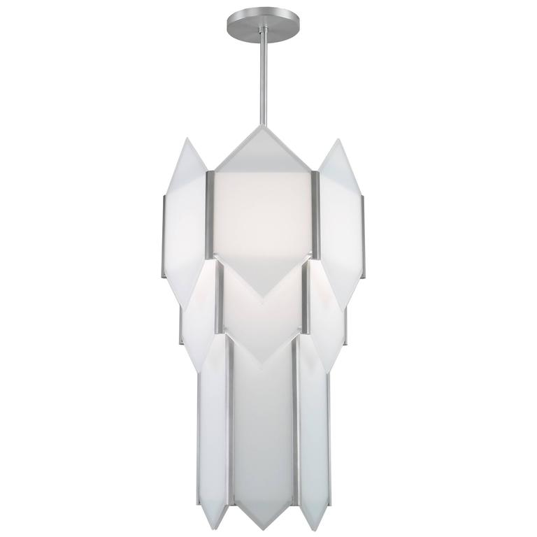 Art Deco Style Skyscraper Chandelier in Stainless Steel with White Glass Panels