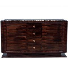 French Art Deco Macassar Ebony Buffet with Marble Top