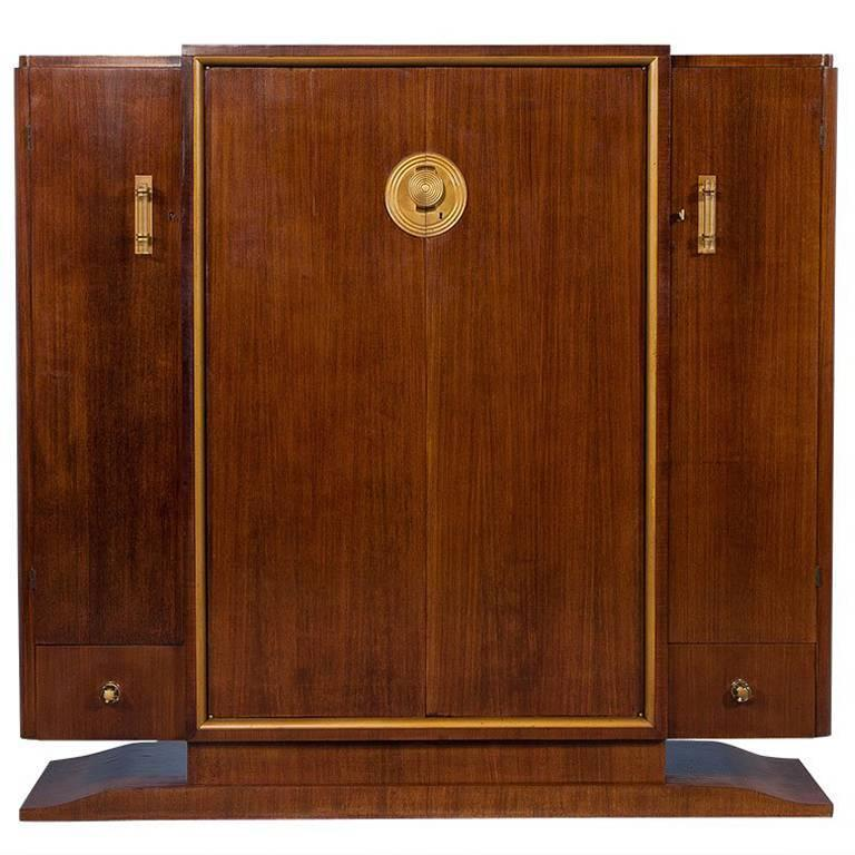 French Art Deco Rosewood Armoire For Sale
