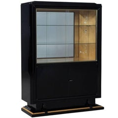 Black High Gloss Art Deco Cabinet