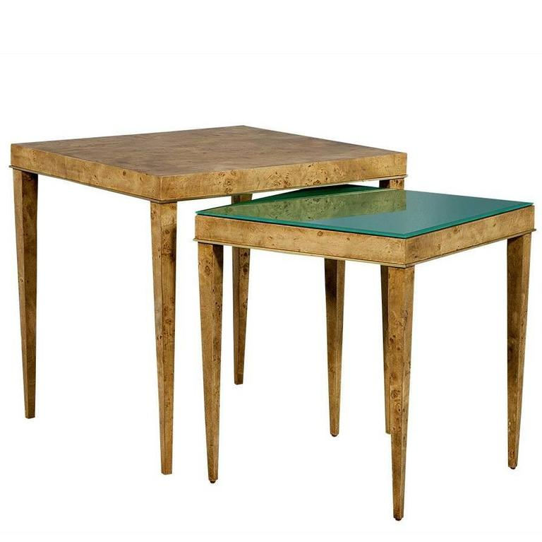 Wood Stacking Tables ~ Burled wood and green glass nesting tables for sale at stdibs