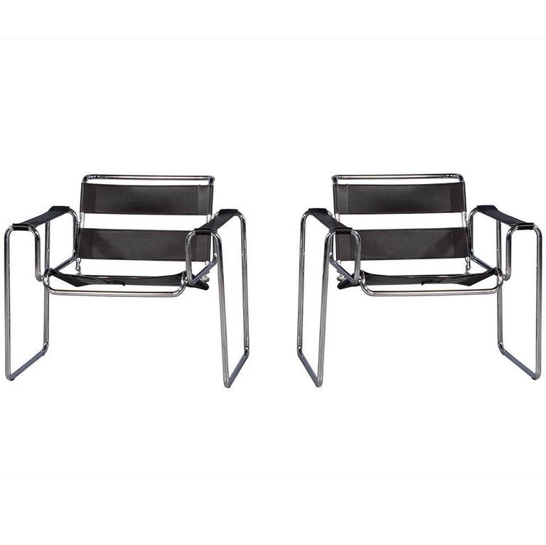 Pair Of Black Leather Wassily Style Armchairs