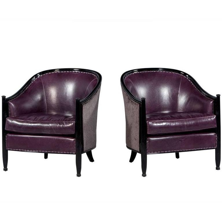 Pair of Art Deco Lounge Chairs in Dark Purple Leather For Sale