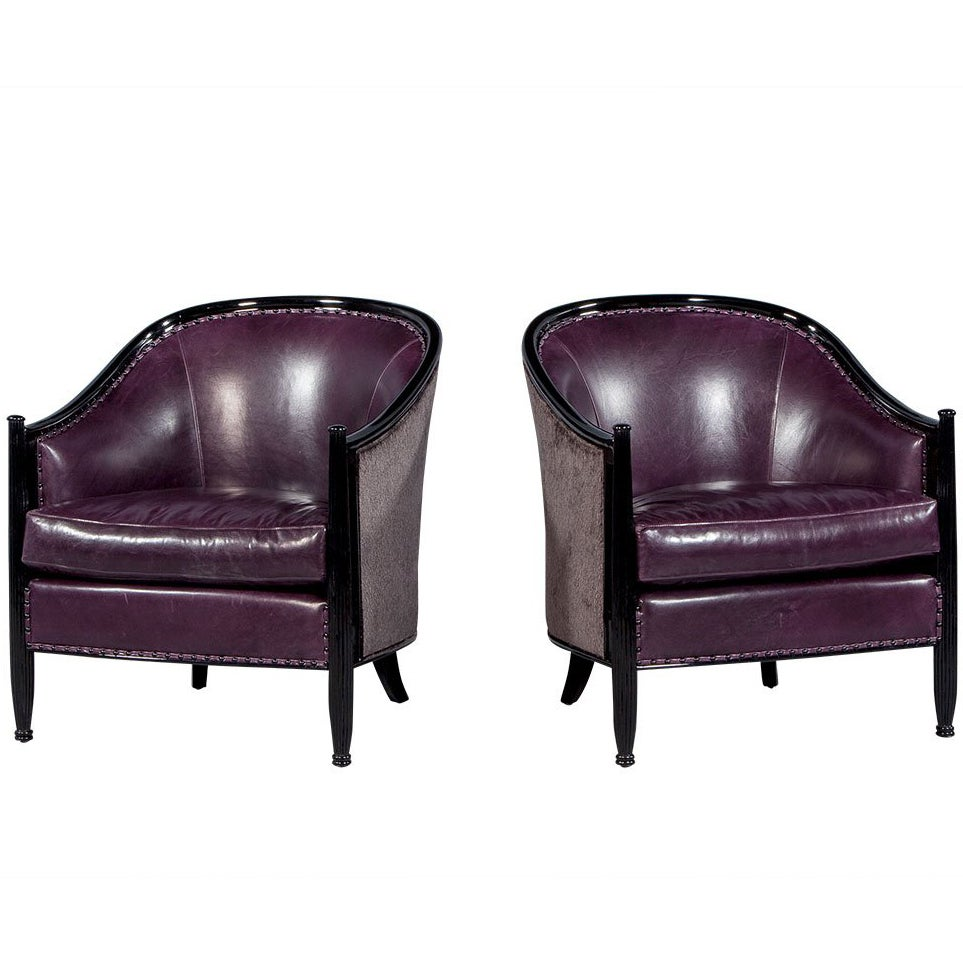 Astounding Pair Of Art Deco Lounge Chairs In Dark Purple Leather At 1Stdibs Beatyapartments Chair Design Images Beatyapartmentscom