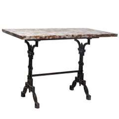 French Cast Iron and Marble Cafe Table