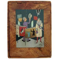 French Art Deco Cigarette Box with Blushing Woman Motif