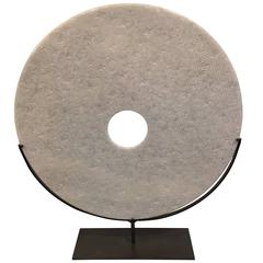 Large White Textured Disc Sculpture, China, Contemporary