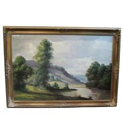Landscape by River, Oil on Canvas