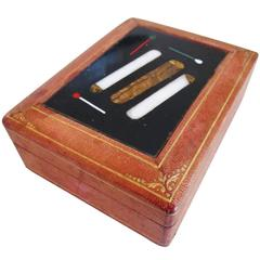 Pietra Dura Leather Card Box Cigarette Motif