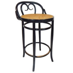 Italian Antique Black Bentwood and Cane Cafe Stool