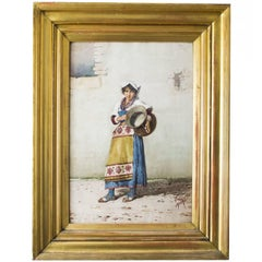19th Century Watercolour 'Water Carrier' F Indoni