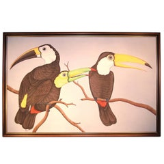 Contemporary Oil Painting of Tropical Birds by Balinese Artist Jirya