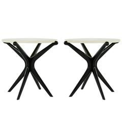 Pair of Ebonized Gazelle Collection End Tables