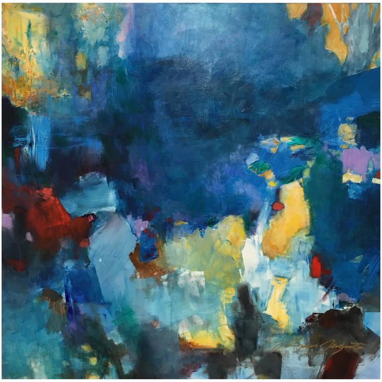 """Phthalo Blue Mood"" Original Acrylic on Panel Painting by Ryan Fugate, 2015"