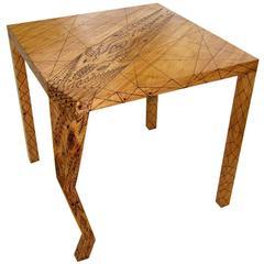 Tattooed Breakfast Table in Wood by Pedro Barrail