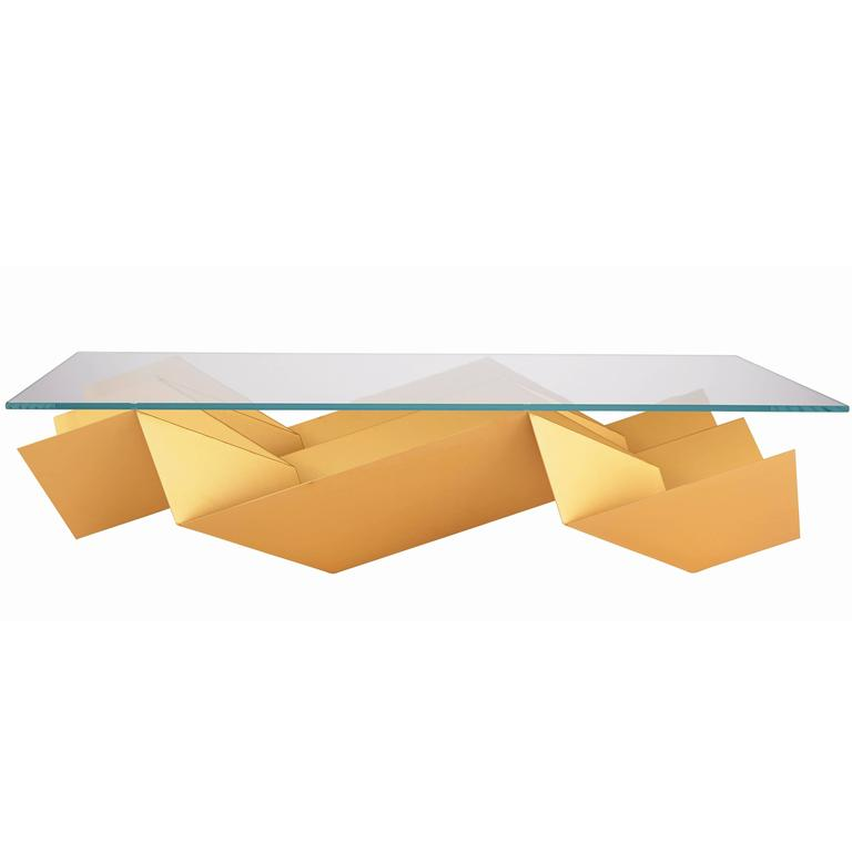 New Handmade Modern/Contemporary Brushed/Anodized Aluminum Glass Coffee Table For Sale