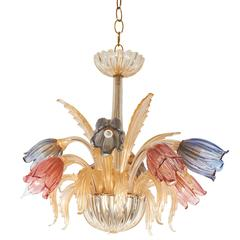 Murano Glass Tulip Chandelier with Gold Accent