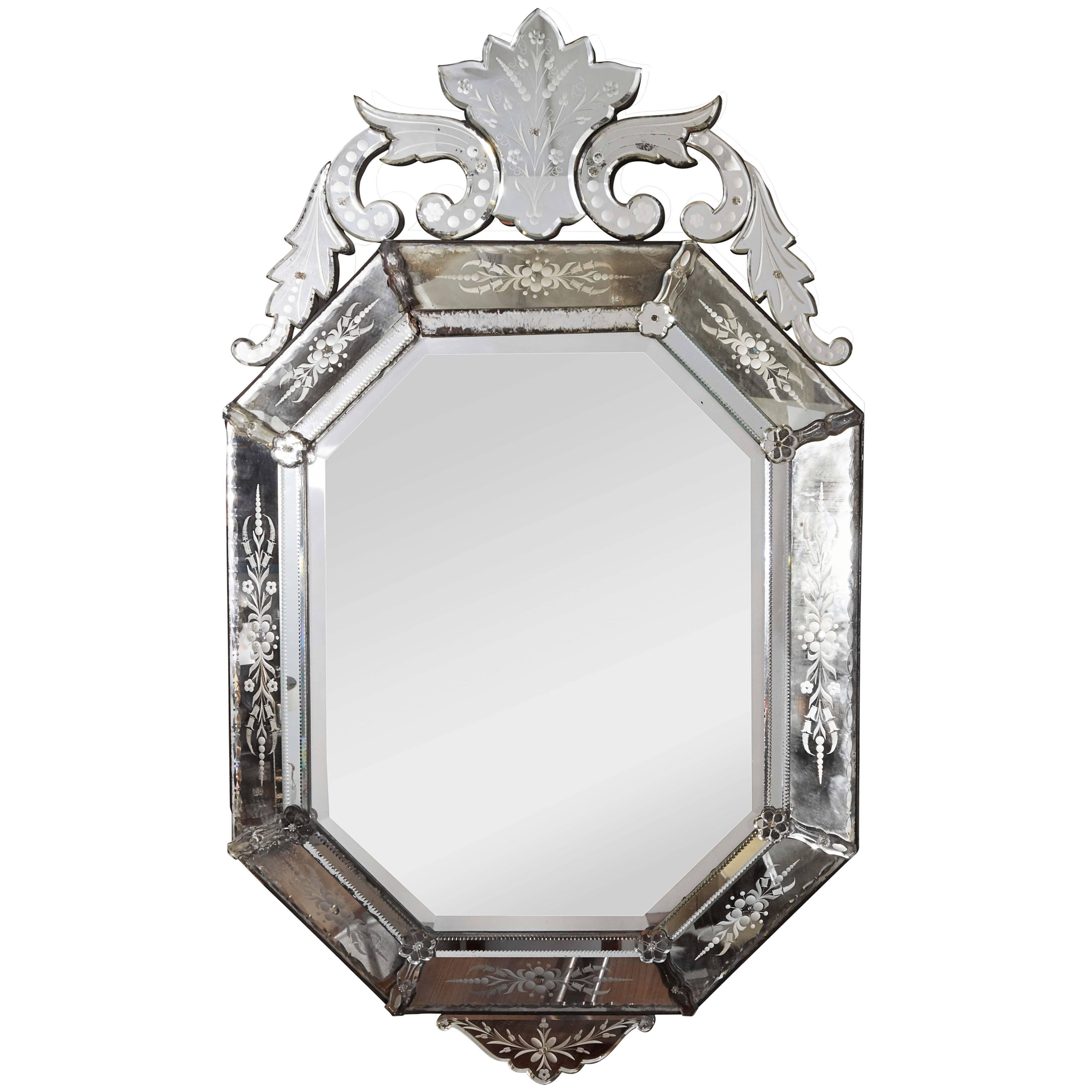 Hollywood Regency Venetian Octagonal Wall Mirror