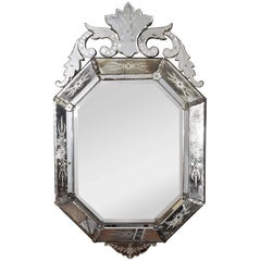 Hollywood Regency Venetian Octagonal Wall Mirror