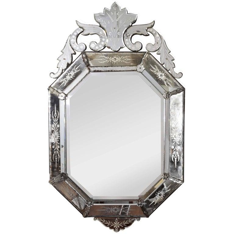 Hollywood Regency Venetian Octagonal Wall Mirror For Sale