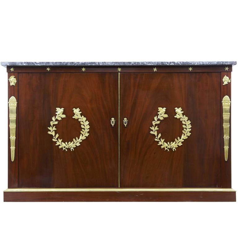 19th Century French Empire Mahogany Cabinet Buffet For Sale