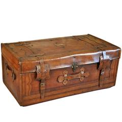 19th Century French Leather Trunk