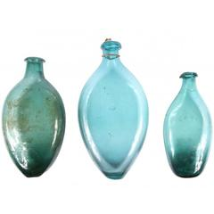 Collection of Three European 16th-17th Century Green Glass Flasks