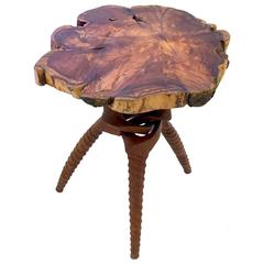 Organic Live Edge Occasional Table in the Manner of Nakashima