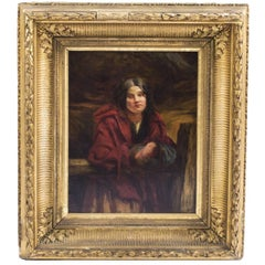19th Century Oil Painting of Peasant Girl R Gavin RSA