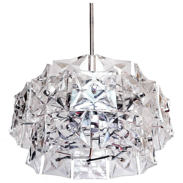 Crystal and Chrome Chandelier by Kinkeldey, Germany For Sale