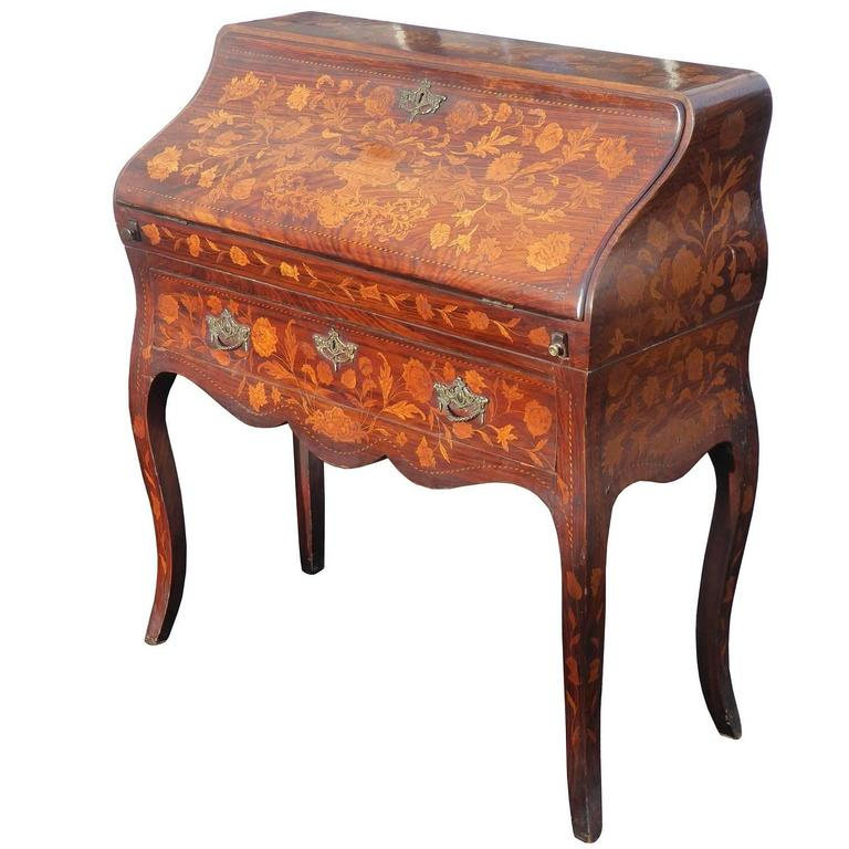19th Century Dutch Marquetry Bureau on Stand
