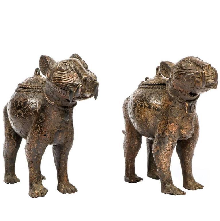 Pair of Decorative Benin Bronze Leopard Statues from Nigeria