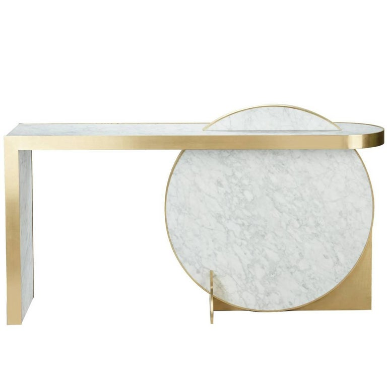 The Collision Console Carrara Marble and Brushed Brass by Lara Bohinc For Sale