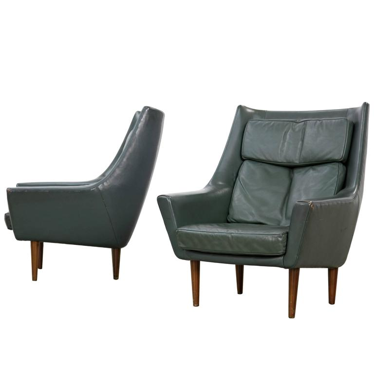 Two Danish Lounge Chairs Hans Olsen Attributed with Dark-Green Original Leather For Sale